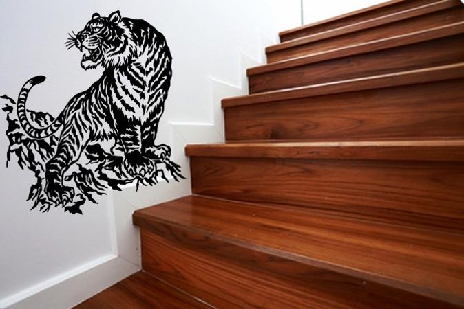Tiger auf dem Felsen Wandtattoo