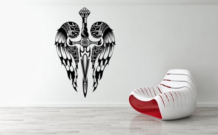 Schwert und Flügel Wandtattoo